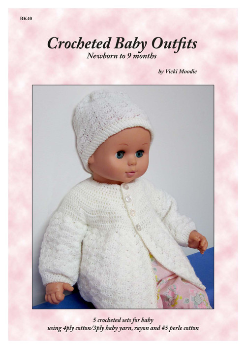 Front cover of Craft Moods publication BK4 (A4), Crocheted Baby Outfits - Newborn to 9 months, by Vicki Moodie, 5 crocheted sets for baby using 4ply cotton, 3/4ply baby yarn, rayon and #5 perle cotton.