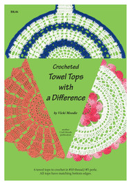 Front cover image of Craft Moods publication BK46 (A4) Crocheted Towel Tops with a Difference, by Vicki Moodie, Australian, 6 towel tops to crochet in #10 thread / #5 perle, all tops have matching bottom edges.