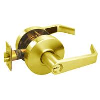 RL11-SR-03 Arrow Cylindrical Lock RL Series Entrance Lever with Sierra Trim Design in Bright Brass