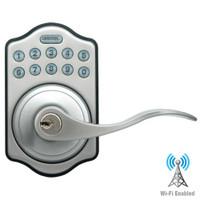 LS-L5i-SN-A LockState Electronic Wi-Fi Keypad Lever Lock in Satin Nickel