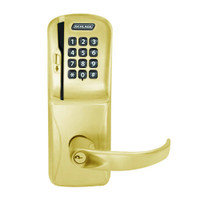 CO250-CY-50-MSK-SPA-PD-605 Schlage Office Rights on Magnetic Stripe with Keypad Cylindrical Locks in Bright Brass
