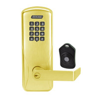 CO220-CY-75-KP-RHO-PD-605 Schlage Standalone Classroom Lockdown Solution Cylindrical Keypad locks in Bright Brass