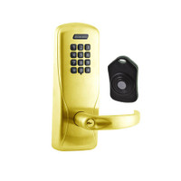 CO220-CY-75-KP-SPA-PD-605 Schlage Standalone Classroom Lockdown Solution Cylindrical Keypad locks in Bright Brass