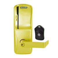 CO220-CY-75-MS-RHO-PD-605 Schlage Standalone Classroom Lockdown Solution Cylindrical Swipe locks in Bright Brass