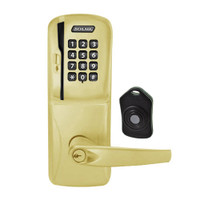 CO220-CY-75-MSK-ATH-PD-606 Schlage Standalone Classroom Lockdown Solution Cylindrical Swipe with Keypad locks in Satin Brass