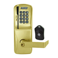 CO220-CY-75-MSK-RHO-PD-606 Schlage Standalone Classroom Lockdown Solution Cylindrical Swipe with Keypad locks in Satin Brass