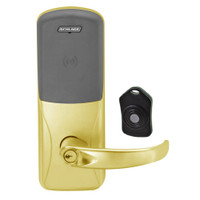 CO220-CY-75-PR-SPA-PD-605 Schlage Standalone Classroom Lockdown Solution Cylindrical Proximity locks in Bright Brass