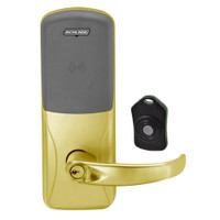 CO220-CY-75-PR-SPA-PD-606 Schlage Standalone Classroom Lockdown Solution Cylindrical Proximity locks in Satin Brass