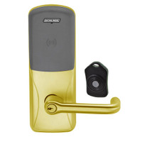 CO220-CY-75-PR-TLR-PD-606 Schlage Standalone Classroom Lockdown Solution Cylindrical Proximity locks in Satin Brass