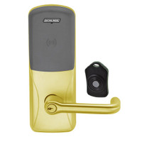 CO220-MS-75-PR-TLR-PD-605 Schlage Standalone Classroom Lockdown Solution Mortise Proximity Locks in Bright Brass
