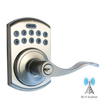 LS-L5i-SN-B LockState Electronic Wi-Fi Keypad Lever Lock in Satin Nickel