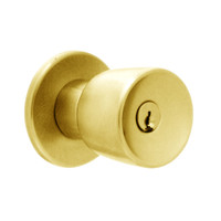 X581PD-EG-605 Falcon X Series Cylindrical Storeroom Lock with Elite-Gala Knob Style in Bright Brass Finish