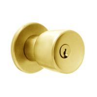 X411PD-EG-605 Falcon X Series Cylindrical Asylum Lock with Elite-Gala Knob Style in Bright Brass Finish