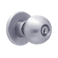 X581PD-HG-625 Falcon X Series Cylindrical Storeroom Lock with Hana-Gala Knob Style in Bright Chrome Finish