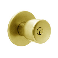 X411PD-EY-605 Falcon X Series Cylindrical Asylum Lock with Elite-York Knob Style in Bright Brass Finish