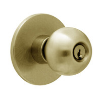 X581PD-HY-606 Falcon X Series Cylindrical Storeroom Lock with Hana-York Knob Style in Satin Brass Finish