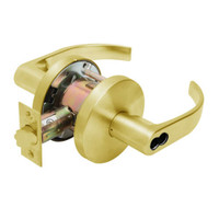 W711BD-Q-605 Falcon W Series Cylindrical Apartment Entry Lock with Quantum Lever Style in Bright Brass Finish
