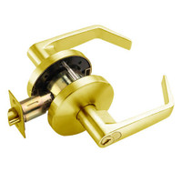 W571GD-D-605 Falcon W Series Cylindrical Dormitory/Corridor Lock with Dane Lever Style in Bright Brass Finish