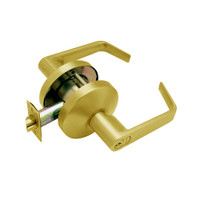 B581GD-D-605 Falcon B Series Single Cylinder Storeroom Lock with Dane Lever Style in Bright Brass Finish