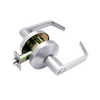 B611GD-D-625 Falcon B Series Single Cylinder Dormitory/Corridor Lock with Dane Lever Style in Bright Chrome Finish
