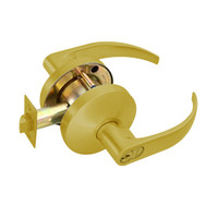 B581GD-Q-605 Falcon B Series Single Cylinder Storeroom Lock with Quantum Lever Style in Bright Brass Finish