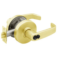 2860-7G04-LL-03 Sargent 7 Line Cylindrical Storeroom/Closet Locks with L Lever Design and L Rose Prepped for LFIC in Bright Brass