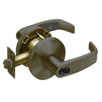 2860-65G37-KL-10B Sargent 6500 Series Cylindrical Classroom Locks with L Lever Design and K Rose Prepped for LFIC in Oxidized Dull Bronze