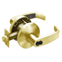 2870-65G37-KL-03 Sargent 6500 Series Cylindrical Classroom Locks with L Lever Design and K Rose Prepped for SFIC in Bright Brass