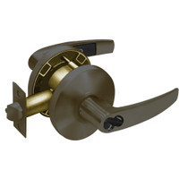 2860-65G37-KB-10B Sargent 6500 Series Cylindrical Classroom Locks with B Lever Design and K Rose Prepped for LFIC in Oxidized Dull Bronze