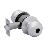 28LC-6G24-BS-26D Sargent 6 Line Series Knob Dormitory Locks with S Knob Design and B Rose Less Cylinder in Satin Chrome