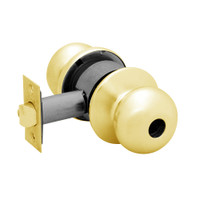 28LC-6G24-BS-03 Sargent 6 Line Series Knob Dormitory Locks with S Knob Design and B Rose Less Cylinder in Bright Brass