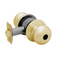 28LC-6G24-BS-04 Sargent 6 Line Series Knob Dormitory Locks with S Knob Design and B Rose Less Cylinder in Satin Brass