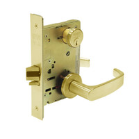 8289-LNL-03 Sargent 8200 Series Holdback Mortise Lock with LNL Lever Trim in Bright Brass