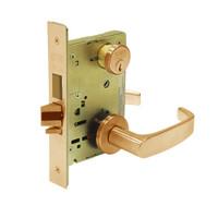 8224-LNL-10 Sargent 8200 Series Room Door Mortise Lock with LNL Lever Trim and Deadbolt in Dull Bronze