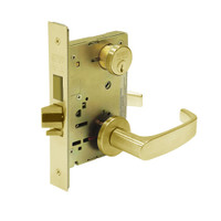 8227-LNL-03 Sargent 8200 Series Closet or Storeroom Mortise Lock with LNL Lever Trim and Deadbolt in Bright Brass