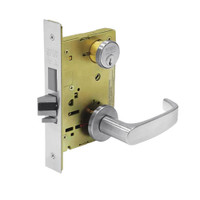 8235-LNL-26 Sargent 8200 Series Storeroom Mortise Lock with LNL Lever Trim and Deadbolt in Bright Chrome