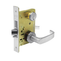 8245-LNL-26 Sargent 8200 Series Dormitory or Exit Mortise Lock with LNL Lever Trim and Deadbolt in Bright Chrome