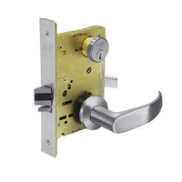 8267-LNP-26D Sargent 8200 Series Institutional Privacy Mortise Lock with LNP Lever Trim in Satin Chrome