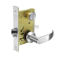 8289-LNP-26 Sargent 8200 Series Holdback Mortise Lock with LNP Lever Trim in Bright Chrome