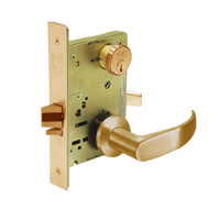 8289-LNP-10 Sargent 8200 Series Holdback Mortise Lock with LNP Lever Trim in Dull Bronze
