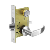 8224-LNP-26 Sargent 8200 Series Room Door Mortise Lock with LNP Lever Trim and Deadbolt in Bright Chrome