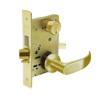 8227-LNP-03 Sargent 8200 Series Closet or Storeroom Mortise Lock with LNP Lever Trim and Deadbolt in Bright Brass