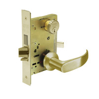 8227-LNP-04 Sargent 8200 Series Closet or Storeroom Mortise Lock with LNP Lever Trim and Deadbolt in Satin Brass