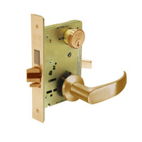 8227-LNP-10 Sargent 8200 Series Closet or Storeroom Mortise Lock with LNP Lever Trim and Deadbolt in Dull Bronze