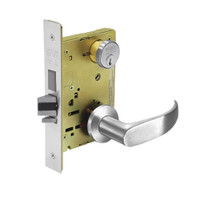 8235-LNP-26 Sargent 8200 Series Storeroom Mortise Lock with LNP Lever Trim and Deadbolt in Bright Chrome