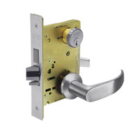 8243-LNP-26D Sargent 8200 Series Apartment Corridor Mortise Lock with LNP Lever Trim and Deadbolt in Satin Chrome