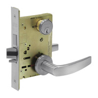 8224-LNB-26D Sargent 8200 Series Room Door Mortise Lock with LNB Lever Trim and Deadbolt in Satin Chrome