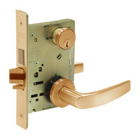 8227-LNB-10 Sargent 8200 Series Closet or Storeroom Mortise Lock with LNB Lever Trim and Deadbolt in Dull Bronze