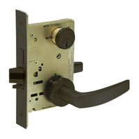8227-LNB-10B Sargent 8200 Series Closet or Storeroom Mortise Lock with LNB Lever Trim and Deadbolt in Oxidized Dull Bronze