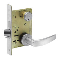 8235-LNB-26 Sargent 8200 Series Storeroom Mortise Lock with LNB Lever Trim and Deadbolt in Bright Chrome